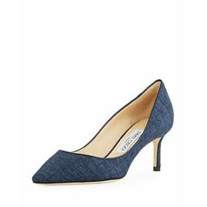 Jimmy Choo Romy Blue Canvas Pointed Toe Pumps
